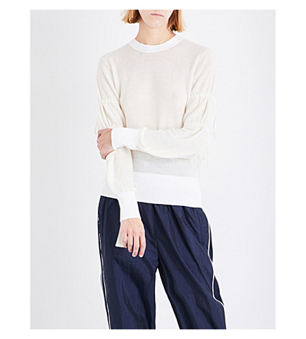 3.1 PHILLIP LIM Ruched lightweight knitted sweatshirt (White