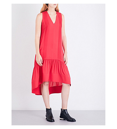 3.1 PHILLIP LIM Pintucked silk-crepe midi dress (Punch+pink