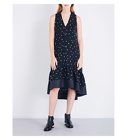 3.1 PHILLIP LIM Printed pintucked silk-crepe midi dress (Blk+ant+white