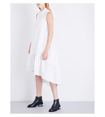 3.1 PHILLIP LIM Smock-neck cotton-poplin midi dress (White