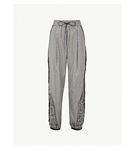 3.1 PHILLIP LIM Gingham relaxed-fit shell trousers (Blk-white