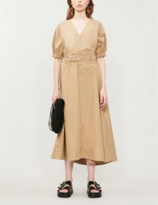 Short-sleeved V-neck cotton-blend dress