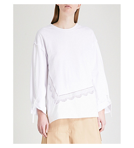 3.1 PHILLIP LIM Embroidered-detail cotton-jersey top (White