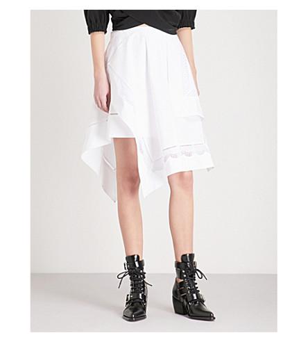 3.1 PHILLIP LIM Handkerchief-hem cotton-poplin skirt (White
