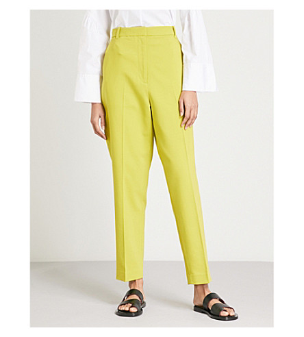 3.1 PHILLIP LIM Tailored-fit tapered high-rise cotton-blend trousers (Chartreuse
