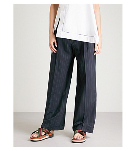 3.1 PHILLIP LIM Striped wide-leg high-rise stretch-wool trousers (Navy/ivory