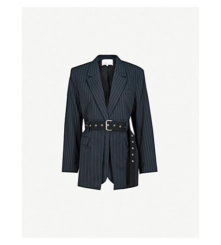 3.1 PHILLIP LIM Pinstriped belted wool-blend blazer (Navy/ivory