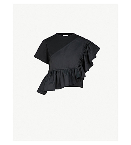 3.1 PHILLIP LIM Flamenco woven cotton top (Black