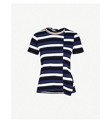 3.1 PHILLIP LIM Striped asymmetric cotton-jersey T-shirt (Black