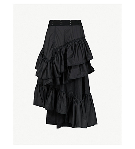 3.1 PHILLIP LIM Flamenco tiered technical-cotton skirt (Black