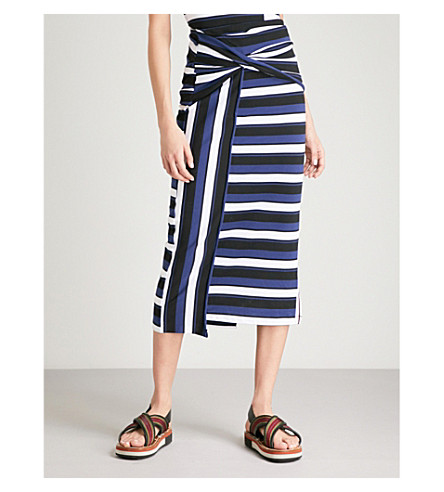 3.1 PHILLIP LIM Striped cotton-jersey maxi skirt (Black