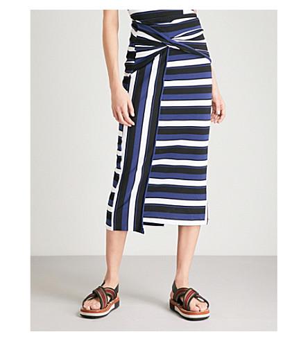 3.1 PHILLIP LIM Striped cotton-jersey maxi skirt (Black