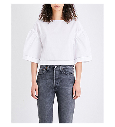 3.1 PHILLIP LIM Wide-sleeve cotton-poplin top (White