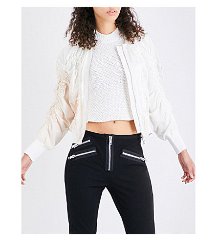 3.1 PHILLIP LIM Ruched silk-crepe de chine bomber jacket (Ant+white
