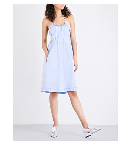 3.1 PHILLIP LIM Halterneck cotton dress (Sky+blue