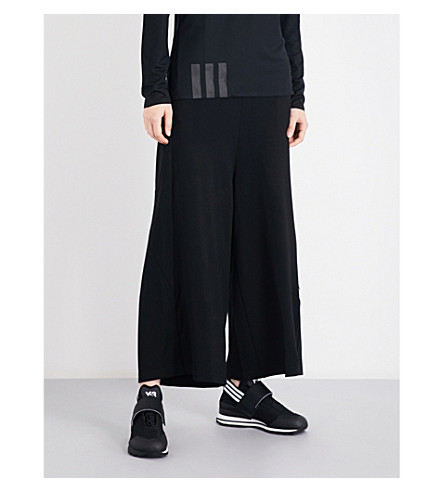 Y3 Lux wide-leg jersey jogging bottoms (Black