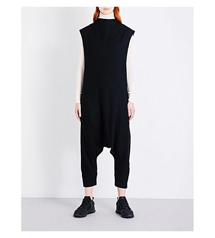 Y3 High-neck wool-blend jumpsuit (Black