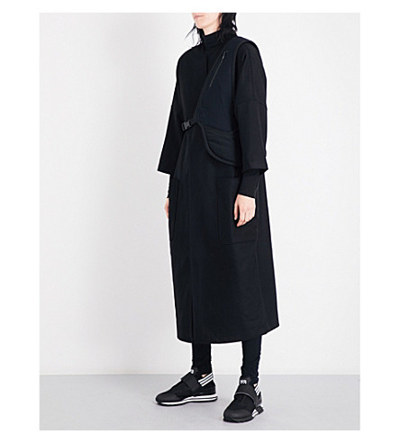 Y3 Waistcoat-detail oversized wool-blend coat (Black