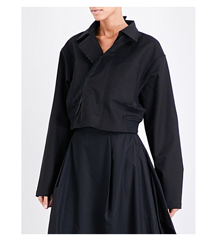 Y3 Drop-shoulder cropped stretch-cotton jacket (Black