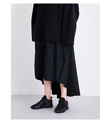 Y3 Dropped-hem cotton-poplin skirt (Black