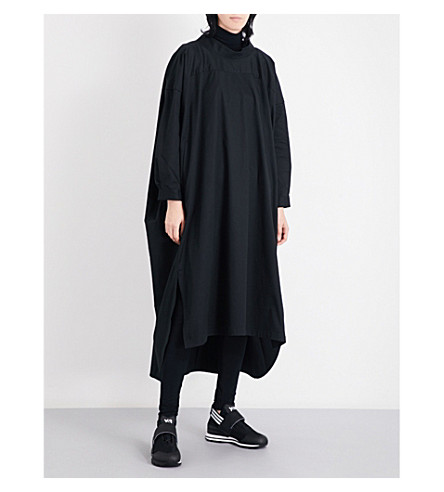 Y3 Oversized stretch-cotton shirt dress (Black