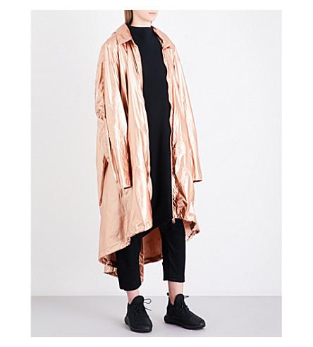Y3 Oversized metallic-shell parka coat (Copper+met