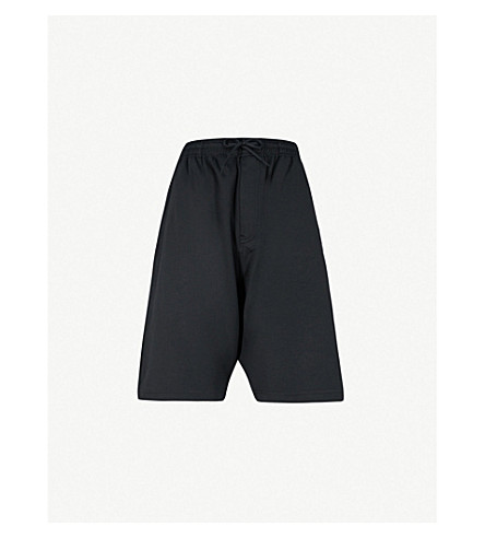 Y3 3-Stripes slouchy-fit jersey shorts (Black/core+white
