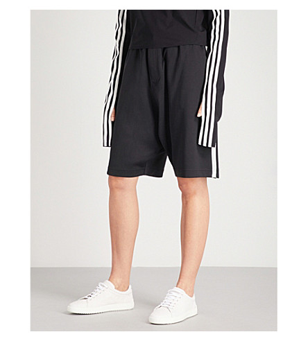 Y3 3-Stripes slouchy-fit jersey shorts (Black/core white