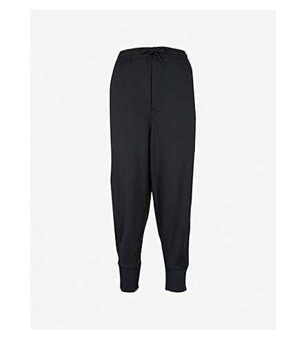 Y3 3-Stripes slouchy-fit jersey jogging bottoms (Black/core+white