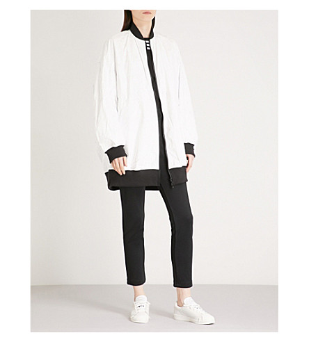 Y3 Logo-print reversible cotton bomber jacket (Chili+pepper/undyed