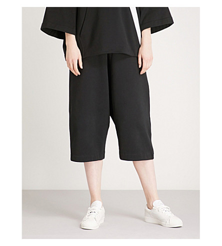 Y3 Striped-detail slouchy cotton-jersey shorts (Black/core+white