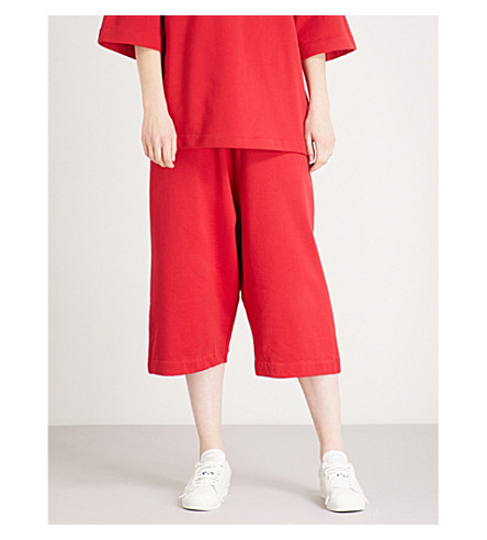 Y3 Striped-detail slouchy cotton-jersey shorts (Chili+pepper/undyed