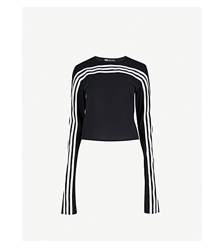 Y3 3-Stripes cropped stretch-jersey top (Black
