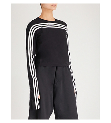 Y3 3-Stripes cropped stretch-jersey top (Black