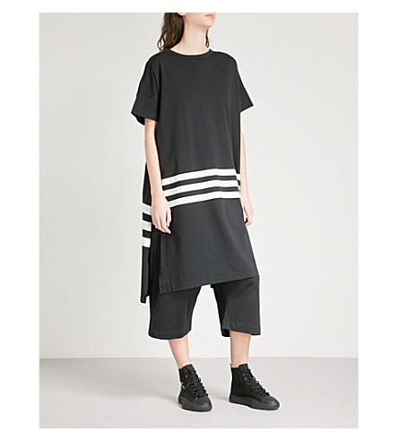 Y3 Striped-detail oversized cotton-jersey T-shirt (Black/core+white