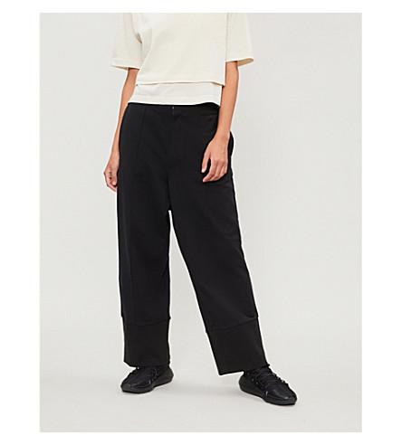 Y3 Sashiko wide-leg cotton-jersey jogging bottoms (Black