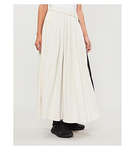 Y3 Striped-side cotton-blend skirt (Cream