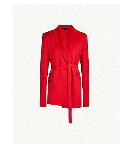HOUSE OF HOLLAND Belted crepe blazer (Red