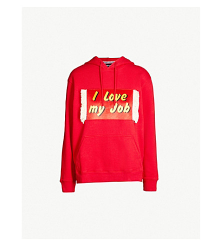HOUSE OF HOLLAND I love my job cotton-jersey hoody (Red
