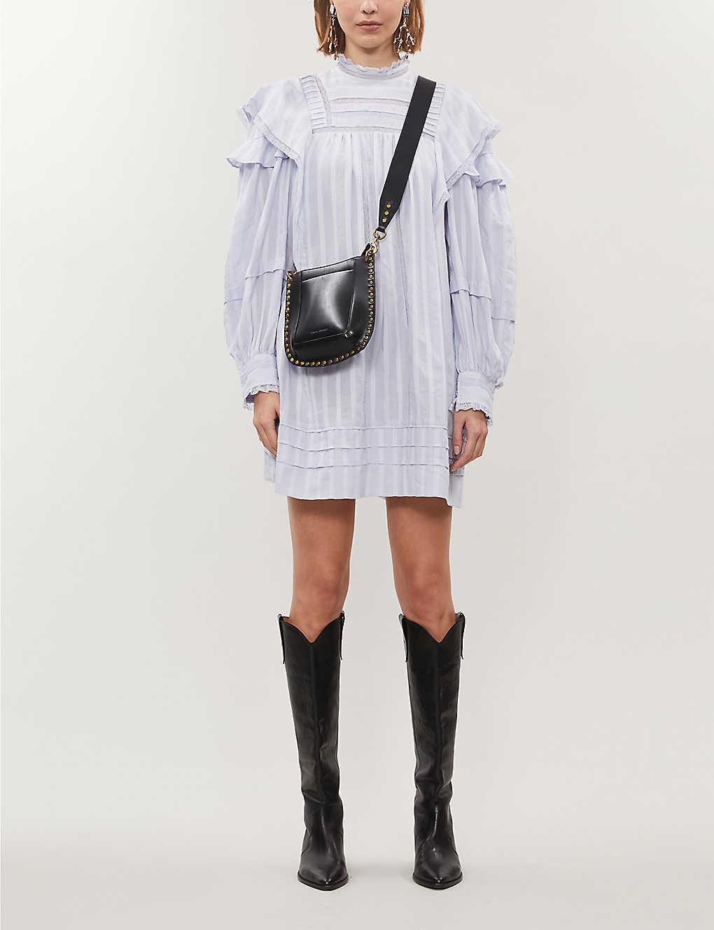 Patsy high-neck striped cotton-poplin mini dress(8104894)