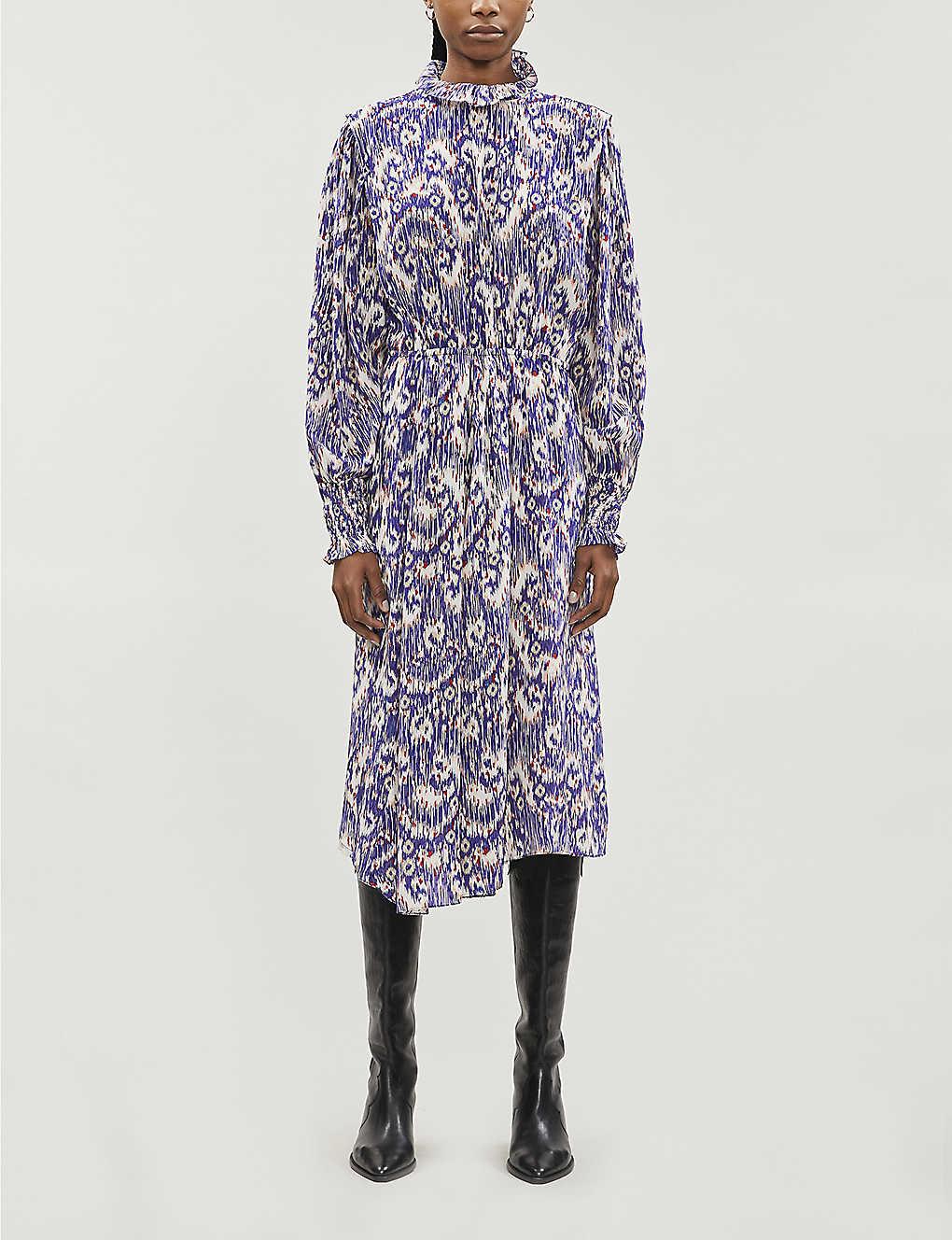 Yescott abstract-pattern silk midi dress(8104872)