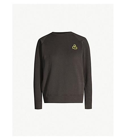 ISABEL MARANT ETOILE Milly flocked-logo cotton-blend sweatshirt (Fade black