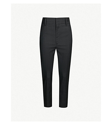 ISABEL MARANT ETOILE Noah tapered cropped high-rise wool trousers (Anthracite