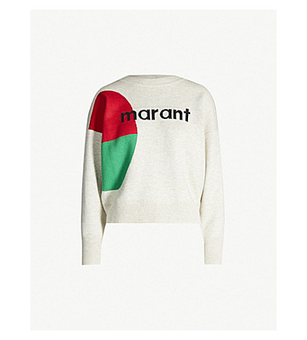ISABEL MARANT ETOILE Korbin logo-print cotton and wool-blend jumper (Light grey
