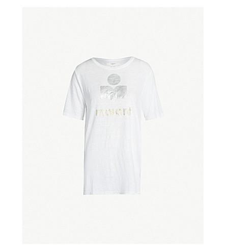 ISABEL MARANT ETOILE Kunta side-split linen T-shirt (White