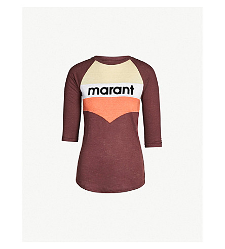 ISABEL MARANT ETOILE Jordan logo-print linen-jersey T-shirt (Burgandy