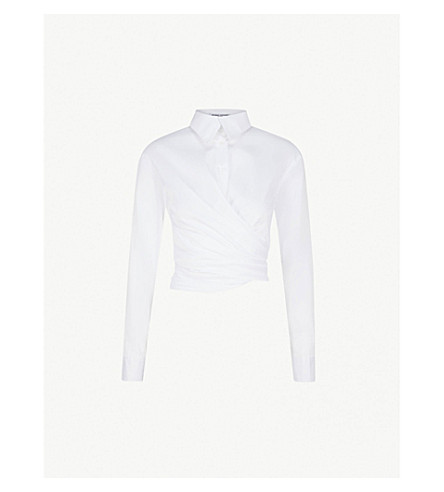 OPENING CEREMONY Wrap-front stretch-cotton shirt (White