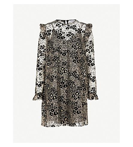 OPENING CEREMONY Floral metallic mesh dress (Black+multi