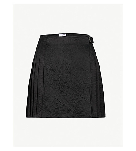 OPENING CEREMONY Pleated crushed satin skirt (Black+multi