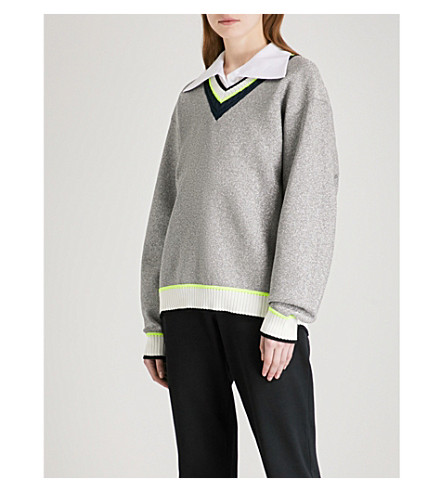 OPENING CEREMONY Disco Sport metallic-knit sweatshirt (Silver+multi